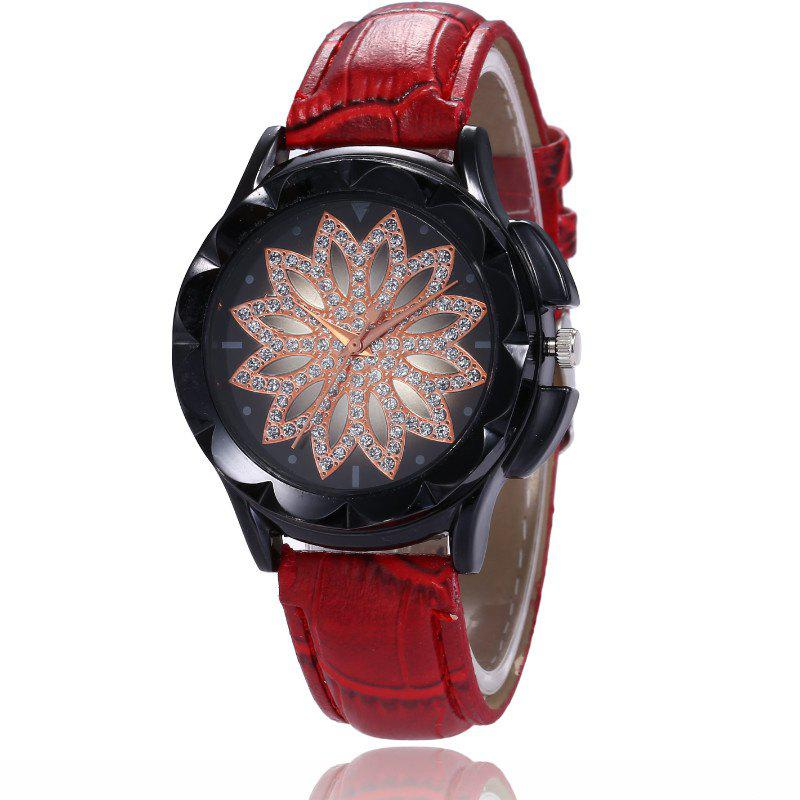 Hot New Fashion Lady Casual Black Shell Simple Flower Quartz Strap Watch
