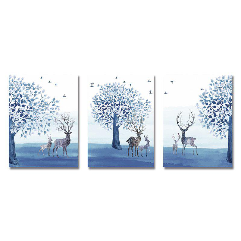 Hot DYC 3PCS Blue Forest Landscape Print Art