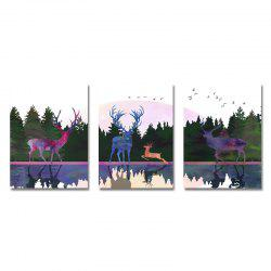 DYC 3PCS Wild Deer Scenery Вдоль реки Print Art -