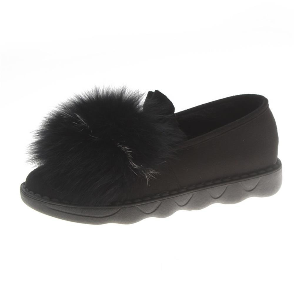 Affordable Round Head Plush Medium Heel Flat Shoes