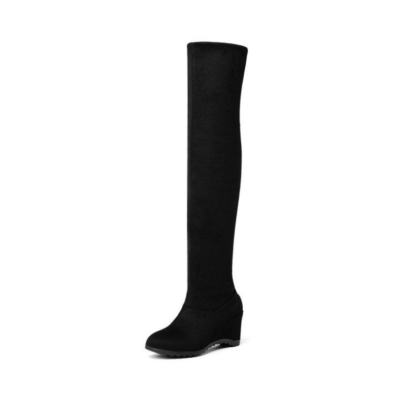 Sale Round Head Slope with Middle Fashion Lady'S Knee Boots