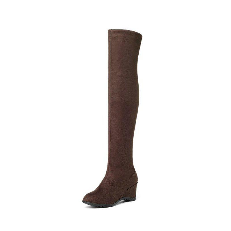 Unique Round Head Slope with Middle Fashion Lady'S Knee Boots