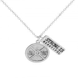 Men's Personality Trend Copper Coin and Iron Pendant Necklace -