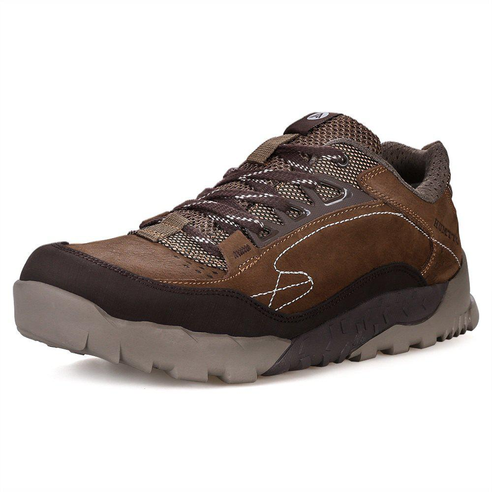 Store HUMTTO Hiking Shoes Men Outdoor Tourism Climbing Leather Lace-Up Sneaker