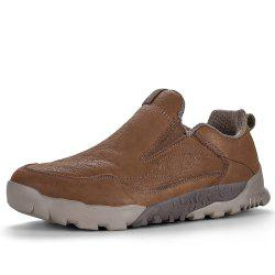HUMTTO Walking Shoes Men Outdoor Climbing Mountaineering Leather Slip-On Sneaker -