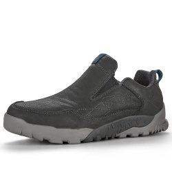 HUMTTO Walking Shoes Men Leather Plus Fur Outdoor Climbing Slip-On Sneaker -