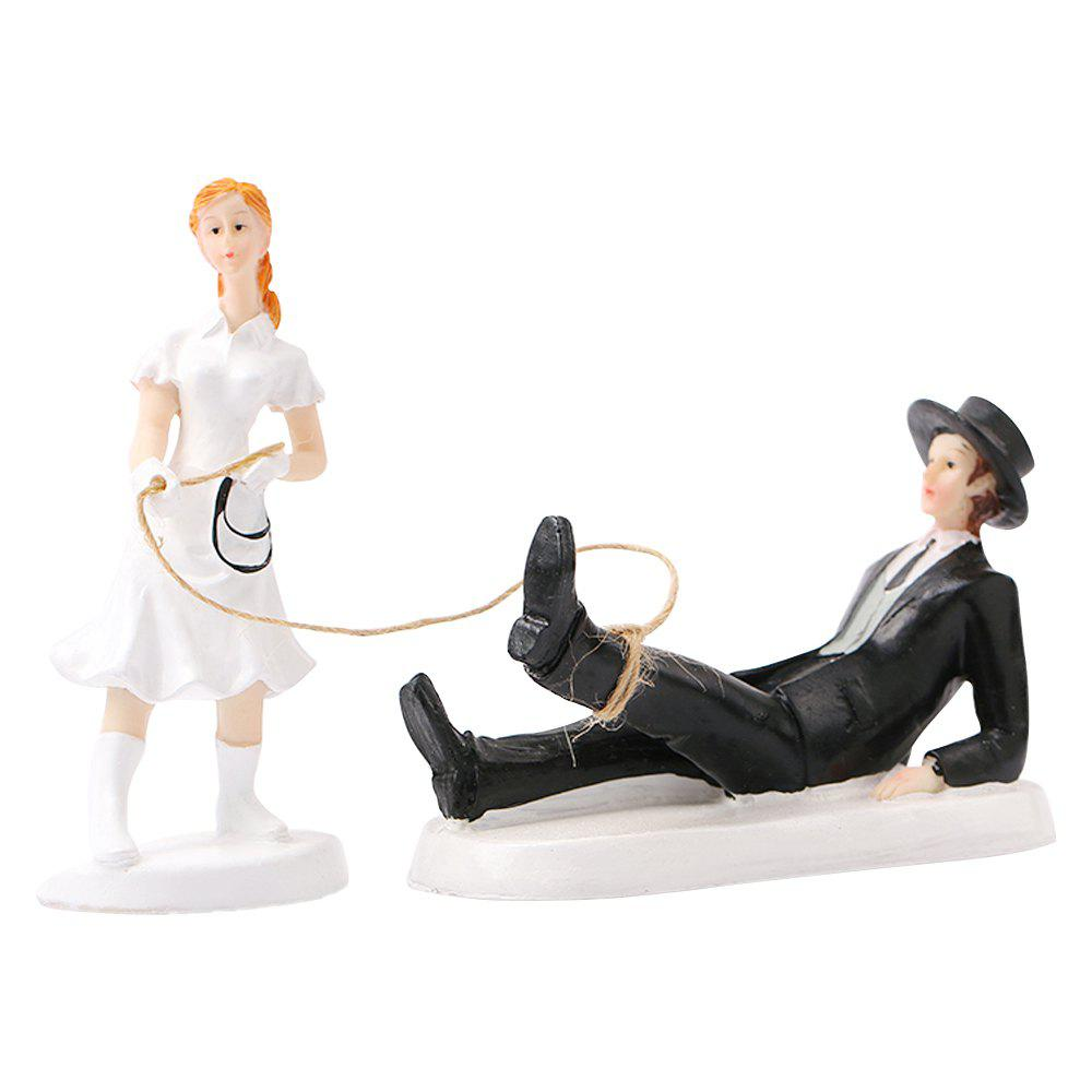Fancy Set Foot The Bride The Groom Cake Topper Ornaments Decoration