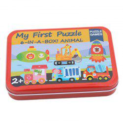 3D Wood Puzzle Cartoon Cards for Children Jigsaw Metal Iron Box -