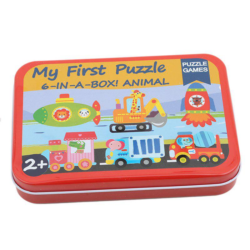 Unique 3D Wood Puzzle Cartoon Cards for Children Jigsaw Metal Iron Box