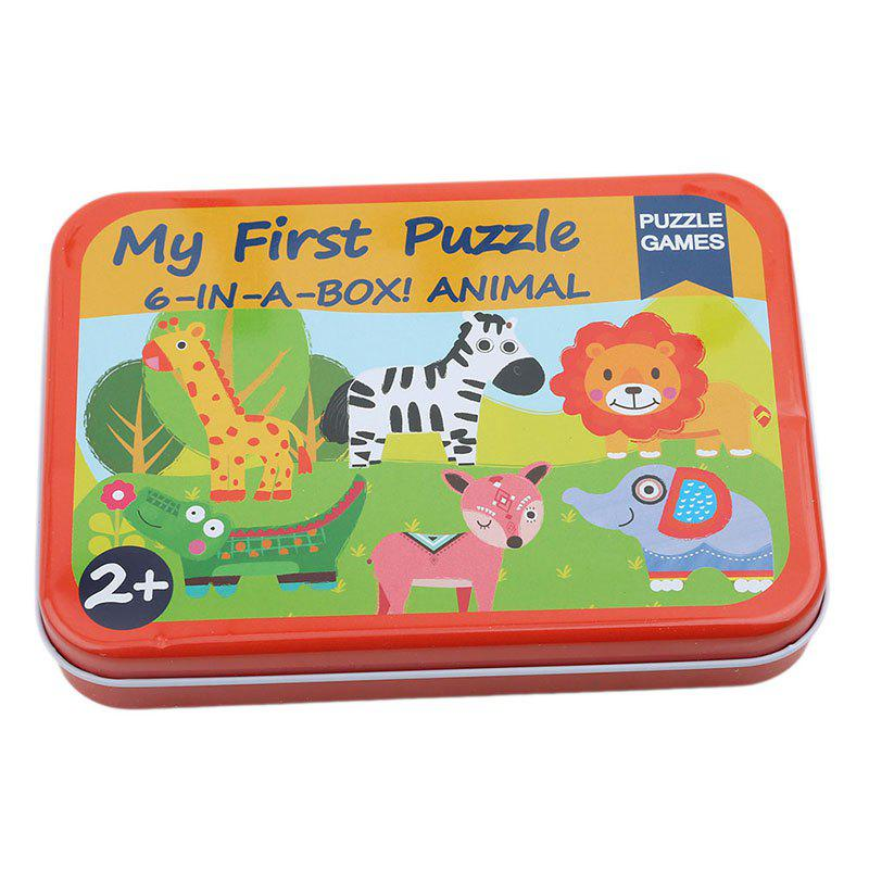 Discount 3D Wood Puzzle Cartoon Cards for Children Jigsaw Metal Iron Box