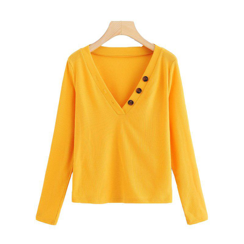 Outfits Women's Yellow Long Sleeve Pullover Knit V-Neck Button Sweater