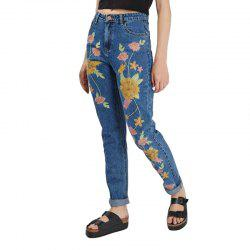 Women Pants Womens Embroidered Floral Straight Jeans Female -