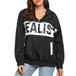 Women Autumn Loose Letter Print Thin Coats Casual Hooded Sun Protection Clothing -