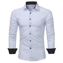Men's Dark Stripe Embossed Casual Slim Long Sleeve Shirt -