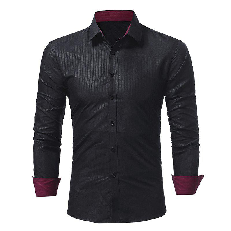 Outfit Men's Dark Stripe Embossed Casual Slim Long Sleeve Shirt