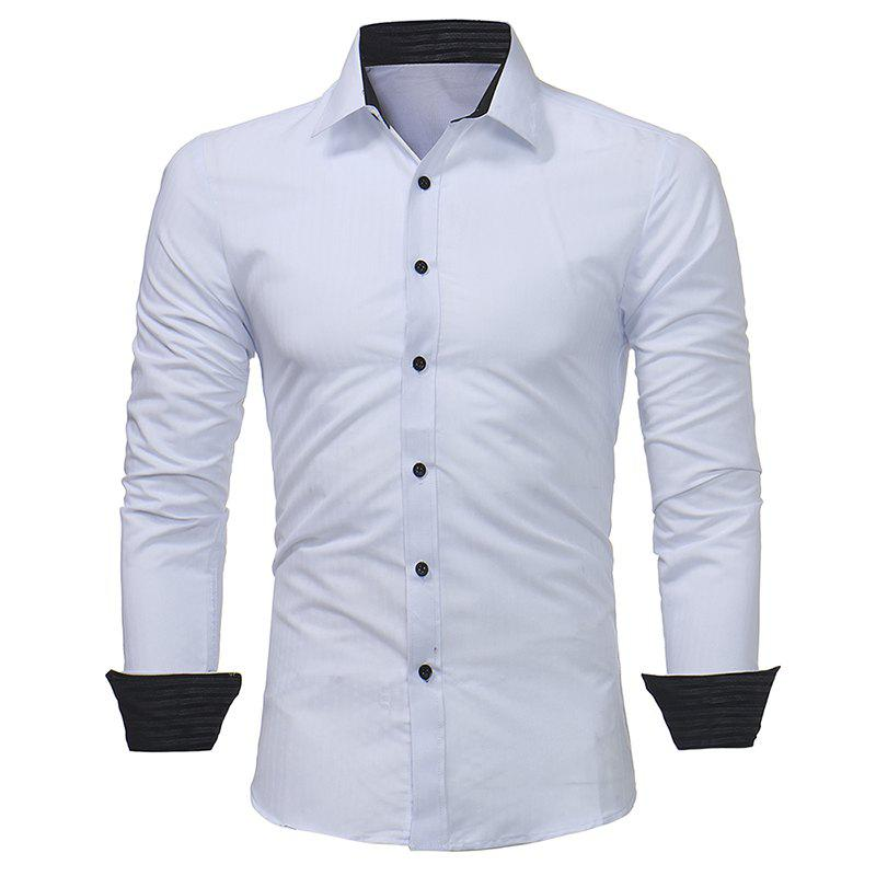 Shops Men's Dark Stripe Embossed Casual Slim Long Sleeve Shirt