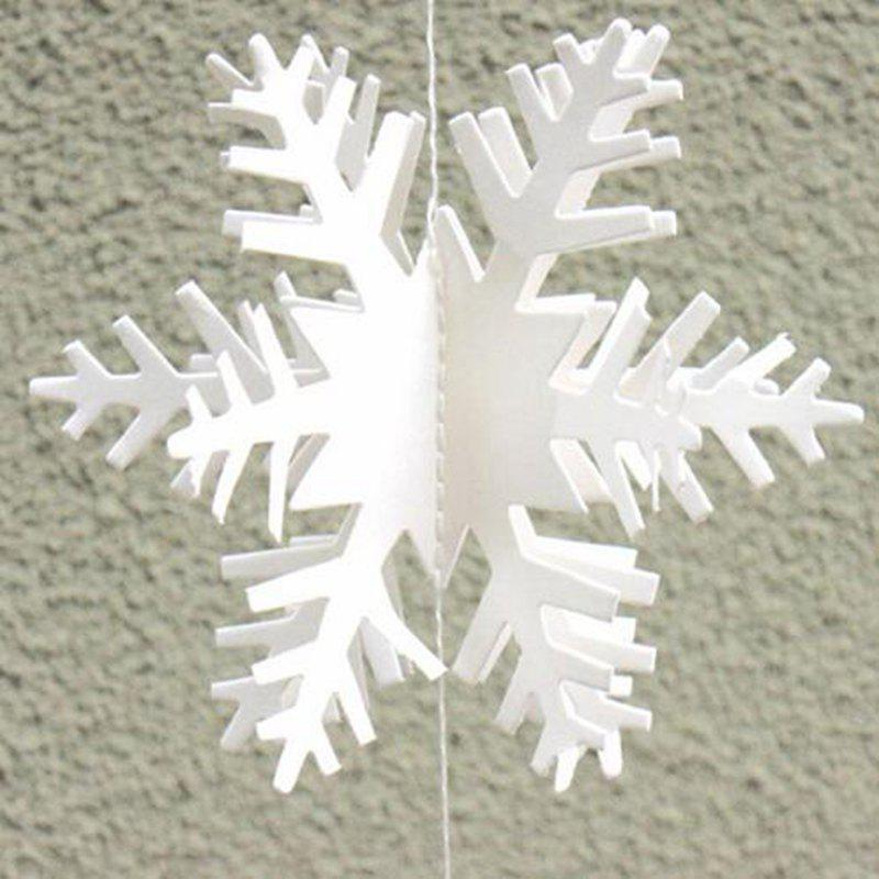 Cheap 12pcs 3D Snowflake Strings Cardboard Paper Hanging Decorations for Wedding Chris