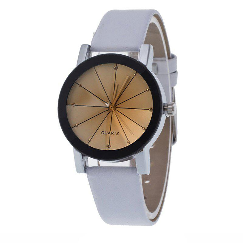 Store Unisex Popular Quartz Stainless Steel Dial Leather Band Wristwatch