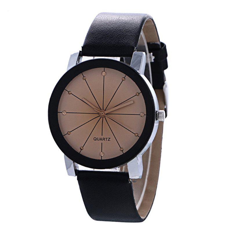 Trendy Unisex Popular Quartz Stainless Steel Dial Leather Band Wristwatch