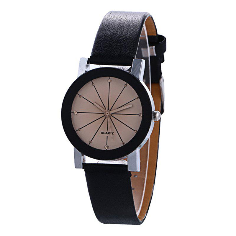 Sale Unisex Popular Quartz Stainless Steel Dial Leather Band Wristwatch