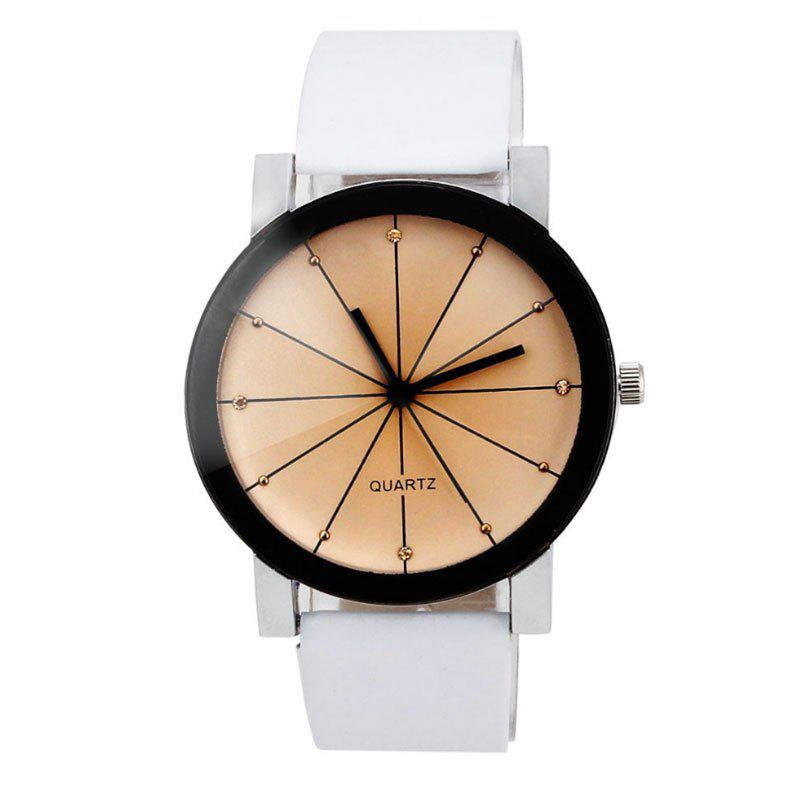 Cheap Unisex Popular Quartz Stainless Steel Dial Leather Band Wristwatch