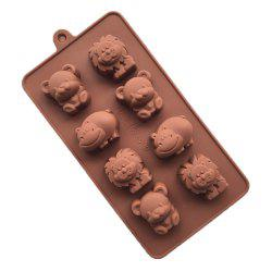 8 Cavity Cartoon Animal Shape Silicone Chocolate Molds Cub Lion Hippo -