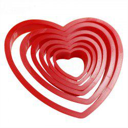 6PCS Heart Shaped Plastic Cake Mold Cookie Cutter Fondant Biscuit Stamp -