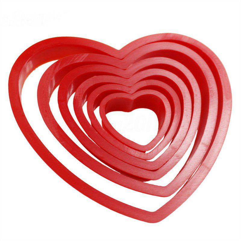 6PCS Heart Shaped Plastic Cake Mold Cookie Cutter Fondant Biscuit Stamp