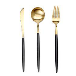 4 Pcs Stainless Steel Tableware Set Knife Fork Spoon and Insulation Mat Set -