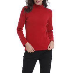 Women's Solid Color Turtleneck Long Sleeve Bottom T-shirt Basic Tops -