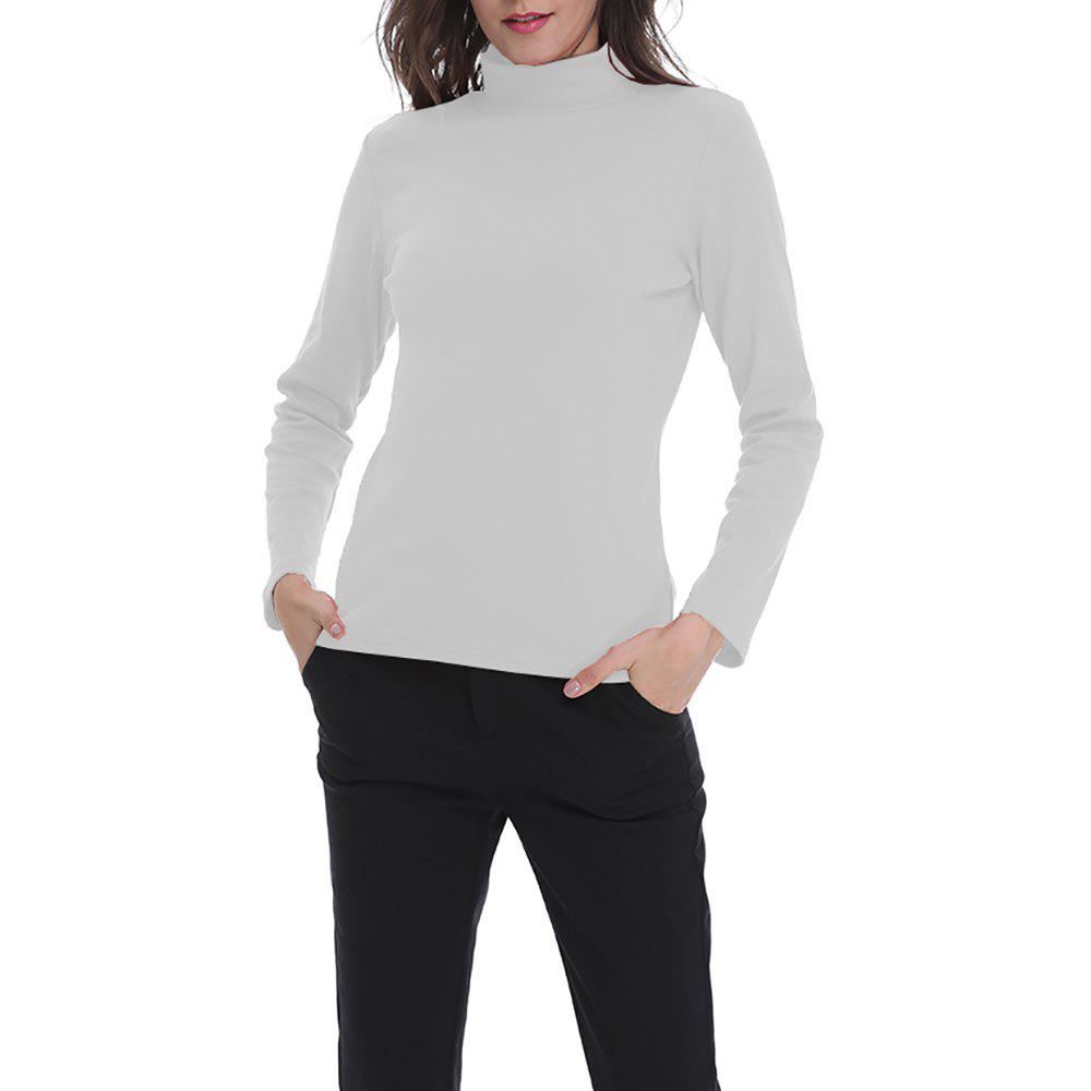 Affordable Women's Solid Color Turtleneck Long Sleeve Bottom T-shirt Basic Tops