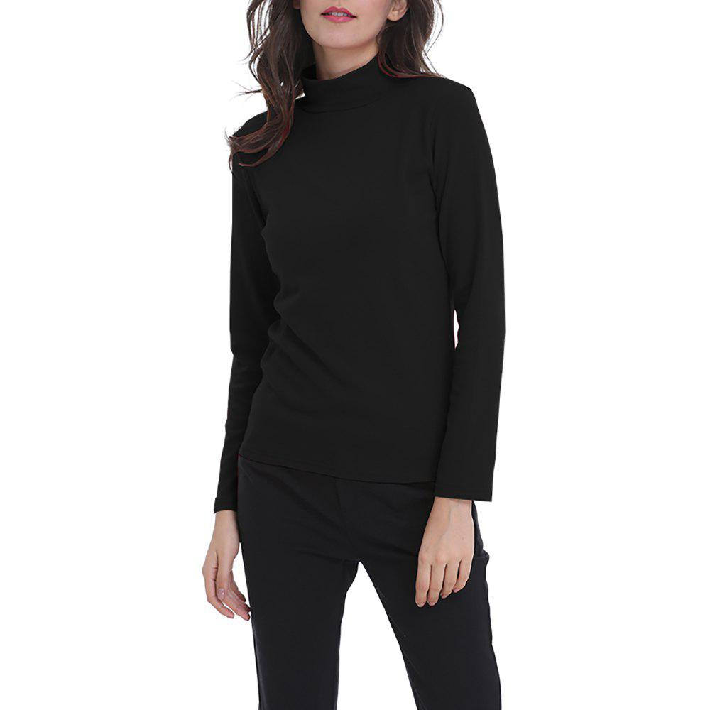 Chic Women's Solid Color Turtleneck Long Sleeve Bottom T-shirt Basic Tops