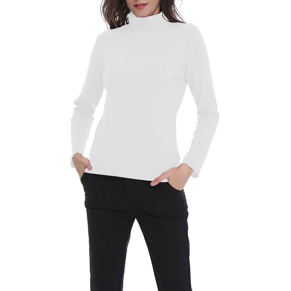 Trendy Women's Solid Color Turtleneck Long Sleeve Bottom T-shirt Basic Tops