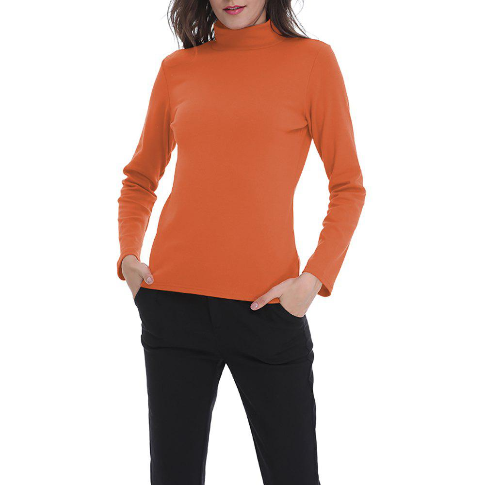 Fashion Women's Solid Color Turtleneck Long Sleeve Bottom T-shirt Basic Tops