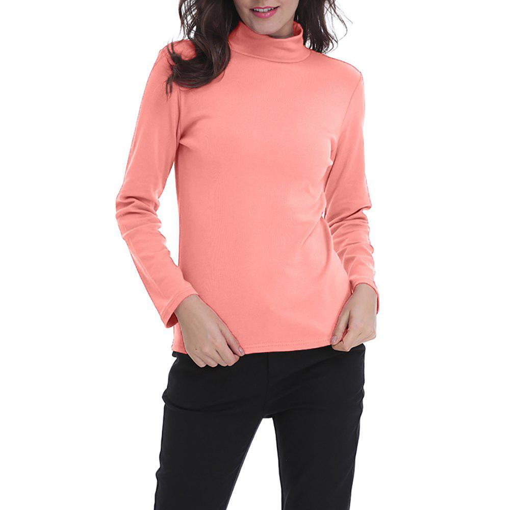 Shops Women's Solid Color Turtleneck Long Sleeve Bottom T-shirt Basic Tops