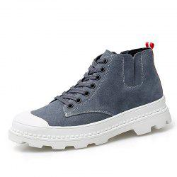 Men'S Leather High-Top Breathable Canvas Casual Shoes -