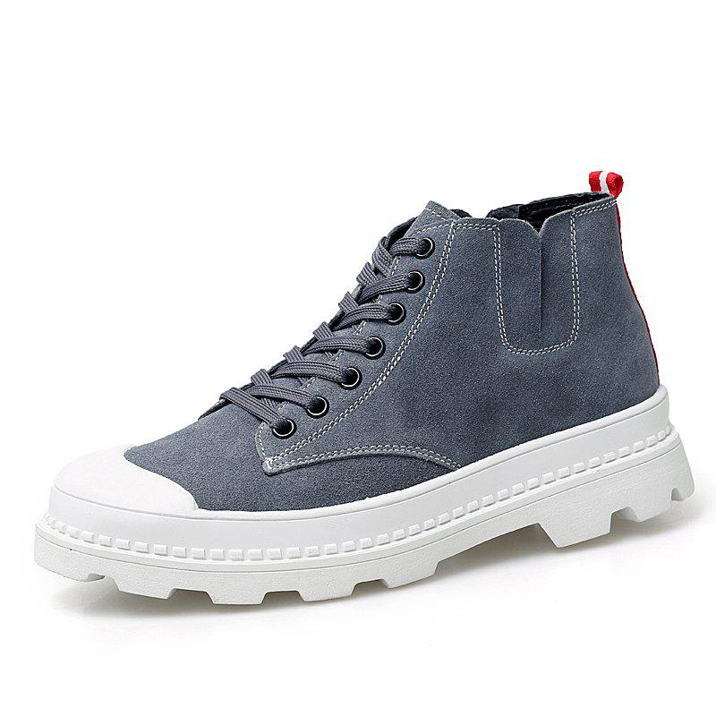 Shops Men'S Leather High-Top Breathable Canvas Casual Shoes