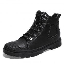 Men'S Leather High-Top Non-Slip Wear-Resistant Casual Martin Boots -