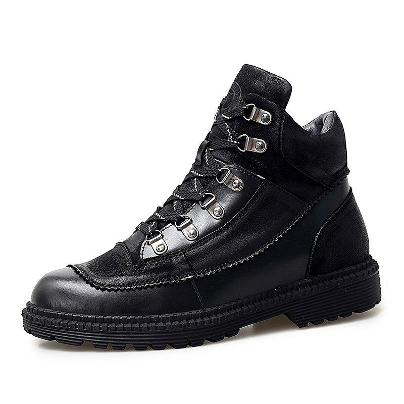 Unique Men'S Non-Slip Wear-Resistant High-Top Leather Casual Martin Boots