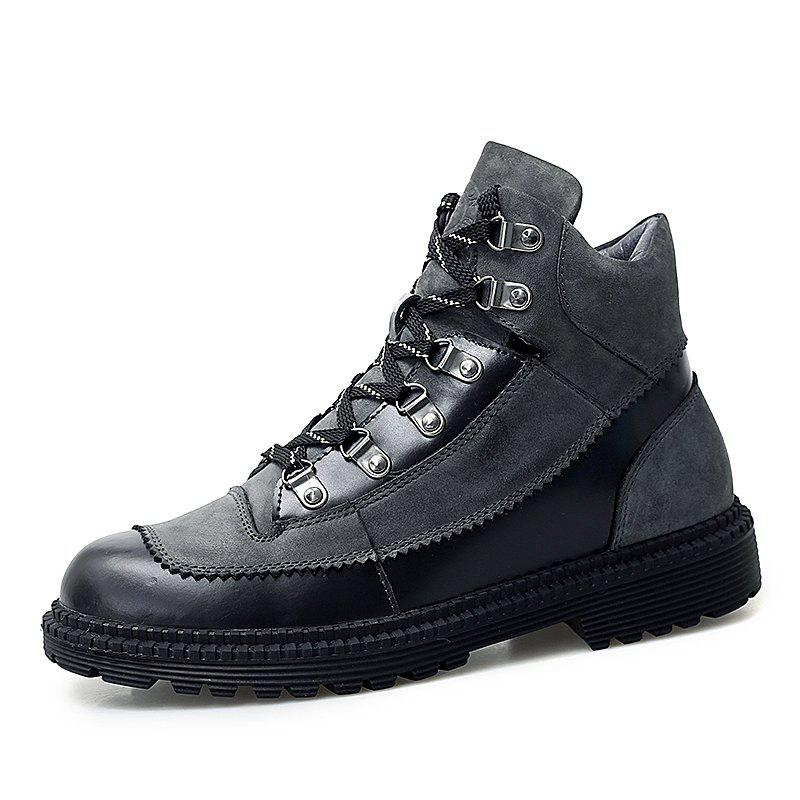 Trendy Men'S Non-Slip Wear-Resistant High-Top Leather Casual Martin Boots