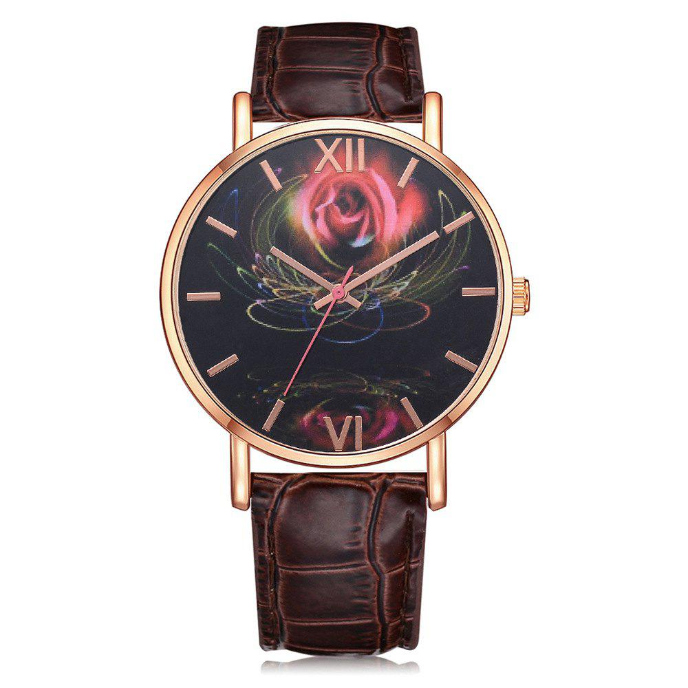 Trendy Fashion Design 3 D Feeling Rose Pattern Leather Quartz Watch