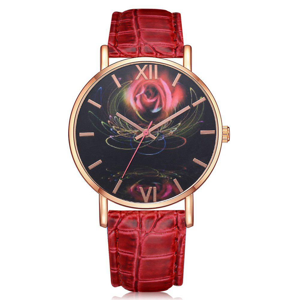 Outfits Fashion Design 3 D Feeling Rose Pattern Leather Quartz Watch