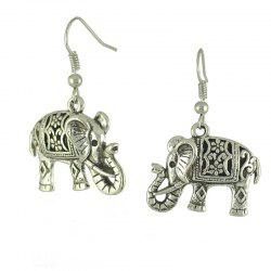 Retro Hollow Carved Ancient Silver Double Faced Elephant Earrings -