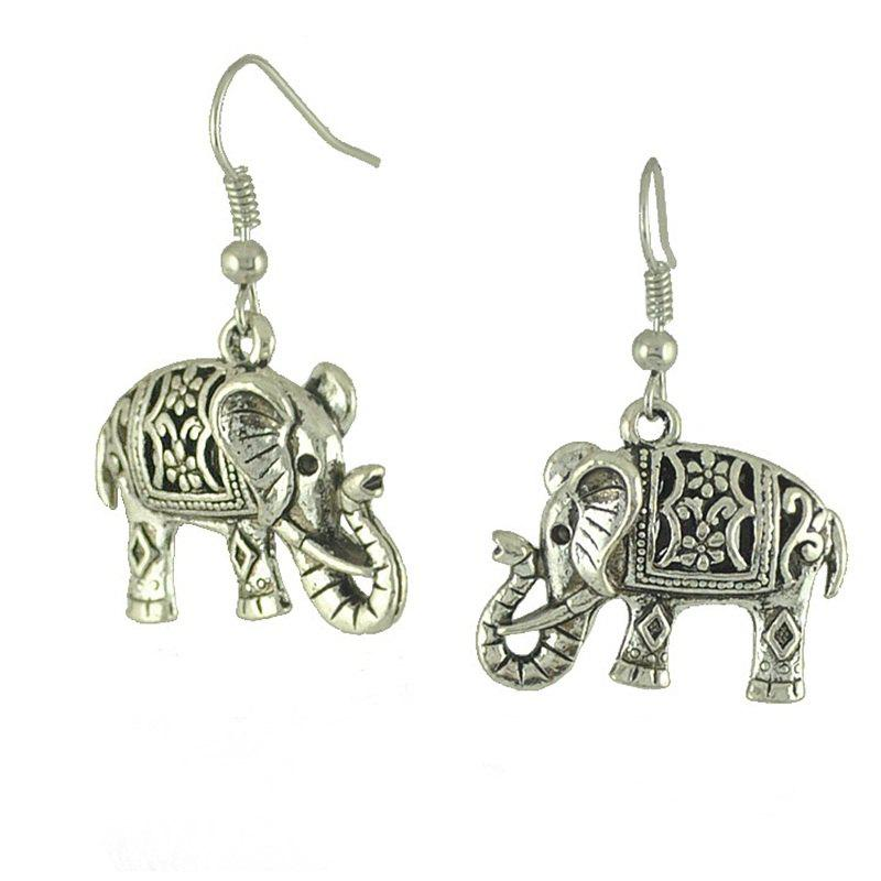 Shops Retro Hollow Carved Ancient Silver Double Faced Elephant Earrings