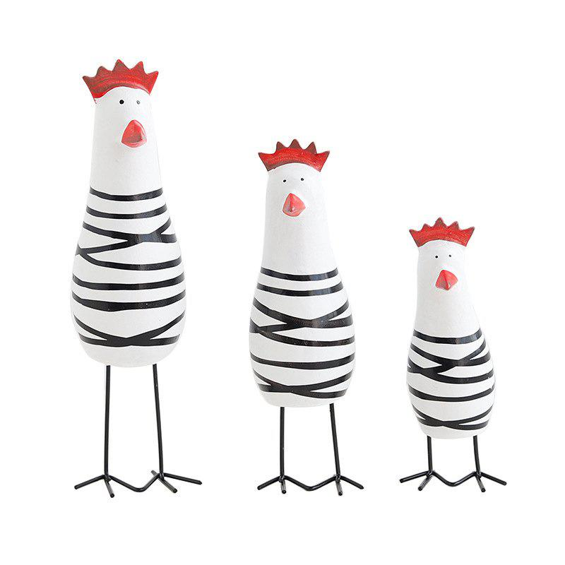 New 3PCS Wood Chicken Family Figurine Cloured Drawing or Pattern Home Decoration