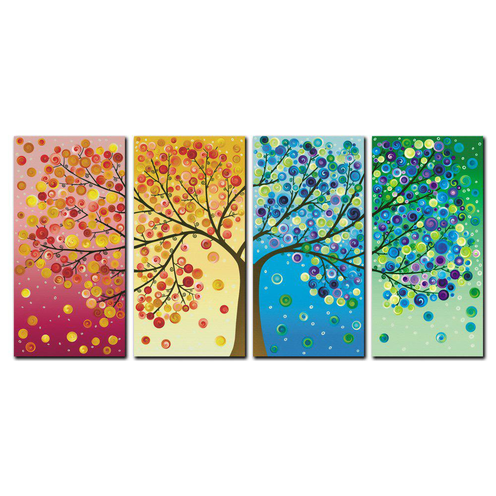 Store YISHIYUAN 4 Pcs HD Inkjet Paints Abstract Rich Tree Decorative Painting