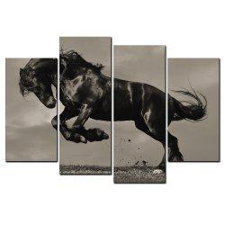 YISHIYUAN 4 Pcs HD Inkjet Paints Black Horse Running Animal Decorative Painting -