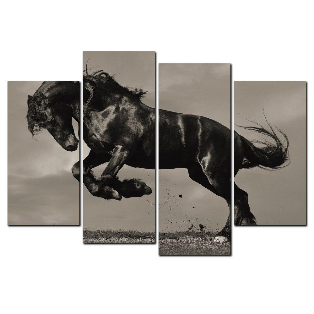 Unique YISHIYUAN 4 Pcs HD Inkjet Paints Black Horse Running Animal Decorative Painting