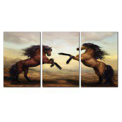 YISHIYUAN 3 Pcs HD Inkjet Paints Brown Double Horse Animal Decorative Painting -
