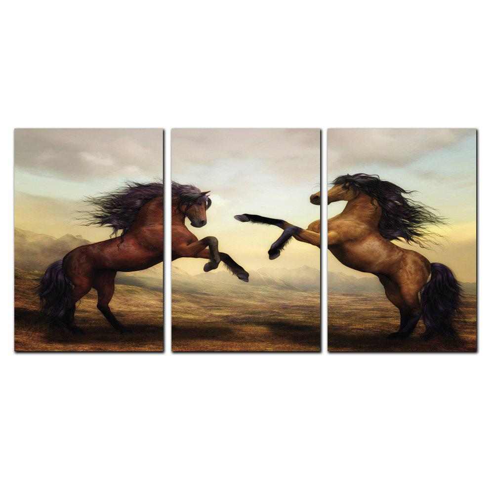 Trendy YISHIYUAN 3 Pcs HD Inkjet Paints Brown Double Horse Animal Decorative Painting
